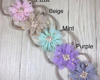 Newborn Headbands Baby Girl- Chiffon Flower Nylon Headband- Headband set