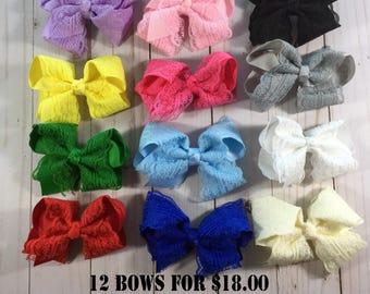 Lace Hair Bows- 4 inch Hair Bows- Set of 12