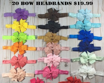 Headband Bows for Babies- 20 Color Bundle