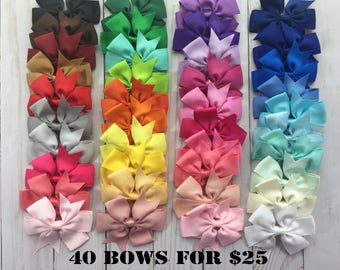 40 color Hair Bows, Little Girl Hair Bows, Baby Hair Bows, Toddler Hair Bows