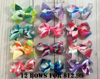 Little Girl Boutique Hair Bows-  3 Inch Hair bow Geometric Design- 12 Bow Bundle