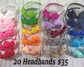 Headband Bows- Toddler Headband Bows- Hard Headband Bows- Girl Headbands