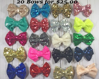 "3"" Sequin Hair Bows- Sparkly Bows- Toddler Hair Bows"