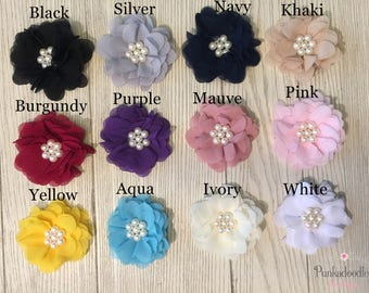 """Chiffon Flower Hair Clips- 2.5"""" Hair Clips- Assorted Colors"""