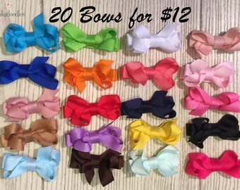 """Mini Hair Bows-1 1/2"""" Hair Bows for Babies-Assorted Colors-20 Bow Bundle"""