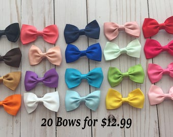 "Small Hair Bows- 2 1/2"" Mini Hair Bows- Hair clips- Set of 20 solid color bows"