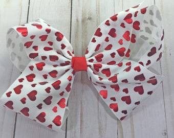 Large Heart Hair Bow- 7 inch Heart Bow- Large hair bow
