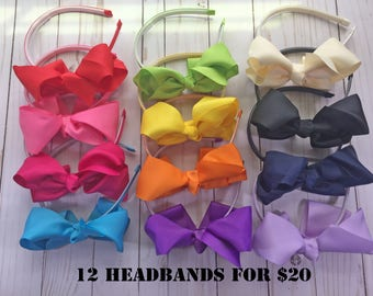5 inch Bow Headband- Toddler Headbands-12 Headband Bundle