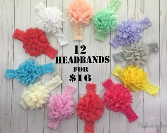 Lace Headbands for Girls- Chiffon Flower Headbands- Baby Girl Headbands- Headband Bundle