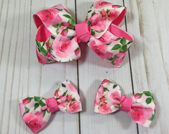 Set of 3 Rose Hair Bows-  Hair Bows- Toddler Hair bows- Little Girl Hair Bows