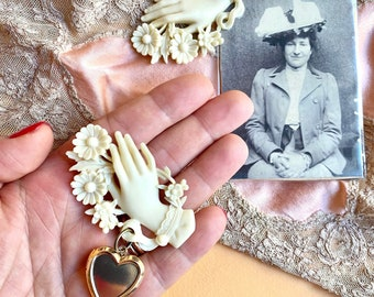 Victorian Mourning Hand Reproduction and Heart Locket Bakelite INSPIRED Fun Fakelite pin brooch - Edwardian Gothic,1940s Witchy vibes