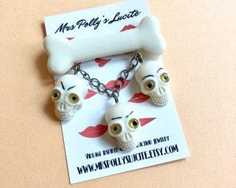 Skeleton Dance pin brooch - Fakelite - Skeleton - Skulls - Halloween - Gothic - Vintage 1940s1950s bakelite celluloid inspired