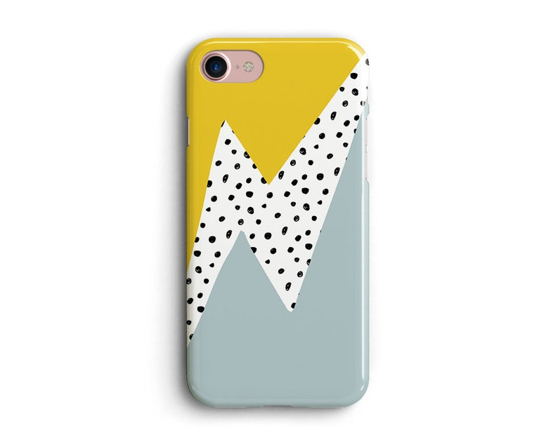 86836866c8edb Geometric iPhone Xs Case, Xs Max, XR, iPhone 8, 7, 6s, SE, Google Pixel  Case, Samsung Galaxy Case, Thunder, Lightning, Dots, Yellow x Blue