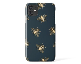 BEE PHONE CASE – iPhone Case – Samsung Galaxy Cell Phone Cover – Google Pixel Shell – Insect Designer Gloss Case for iPhone 13, 12 - Green