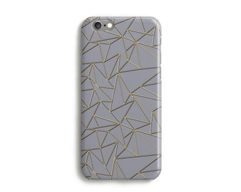 Golden Origami Phone Case, iPhone 7, 6s, Plus, SE, 5s, 5c, unique geometric pattern phone case, Samsung, S8, S8 Plus, Google Pixel, Grey