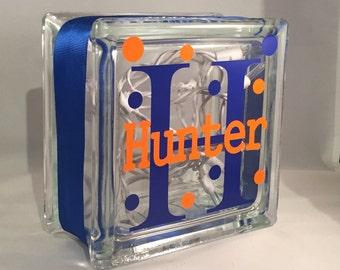 Boys Customized/Personalized Lighted Glass Block Nightlight (6-inch)