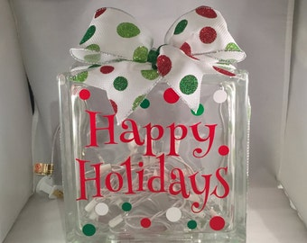 HAPPY HOLIDAYS/Christmas Lighted Glass Block (8 inch)