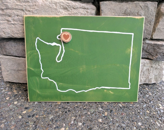 FREE SHIPPING! Washington State Outline with Heart Log Slice