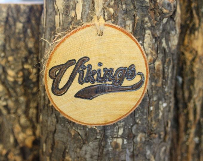 Vikings Ornament - Hand-woodburned Log Slice Ornament- Vikings