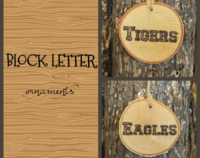 Hawks Ornament - Handwoodburned Log Slice Ornament- BLOCK LETTERS- Hawks