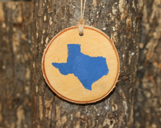 Texas ornament - FREE SHIPPING! Texas Red or Blue Painted Silhouette Ornament Log Slice
