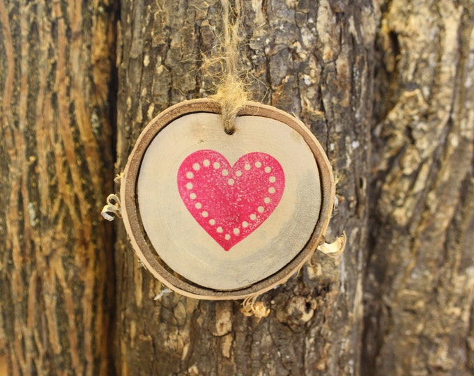 Heart Ornament - Birch Log Slice Heart Ornament- Hand Stamped
