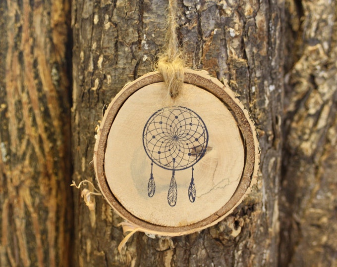 Dream Catcher Stamp Ornament on Birch Log Slice
