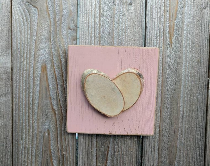 FREE SHIPPING! Rustic Heart- Heart Decor - Log Slice Heart on Distressed Pink-Painted Cedar Wood