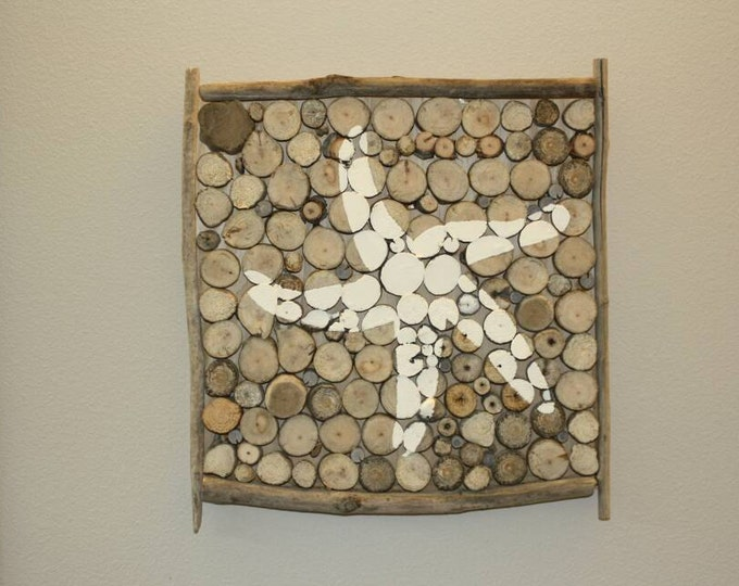 "Starfish - Star fish decor - Nautical Decor - 12"" x 12"" Starfish Driftwood Log Slice Wall Decor"