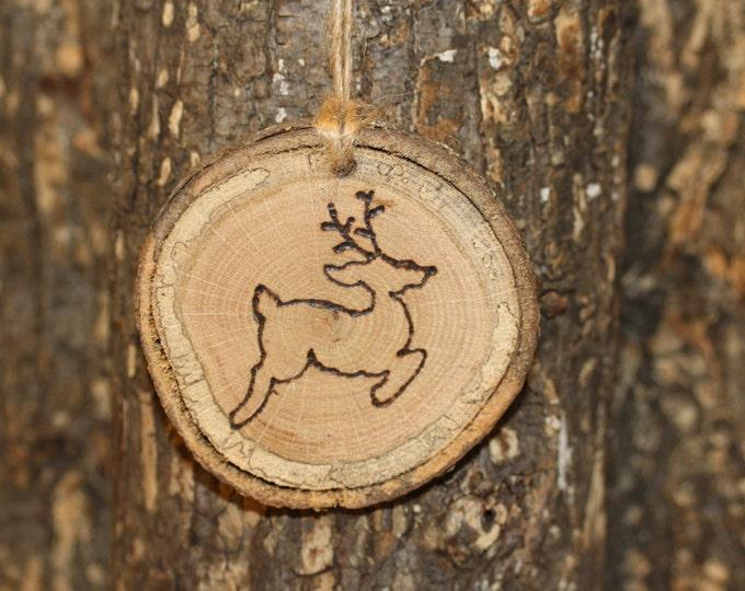 Log Slice Ornament Hand Wood Burned With Jumping Deer