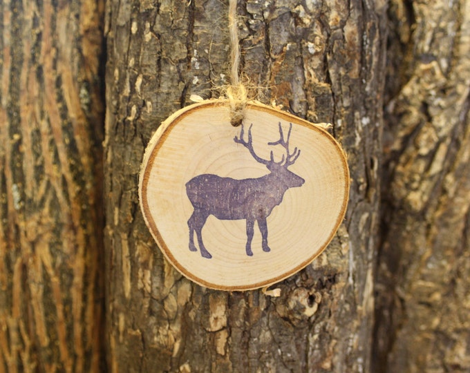 Elk Ornament - Rustic Ornament - Unique Rustic Elk Log Slice Ornament - Hand Stamped
