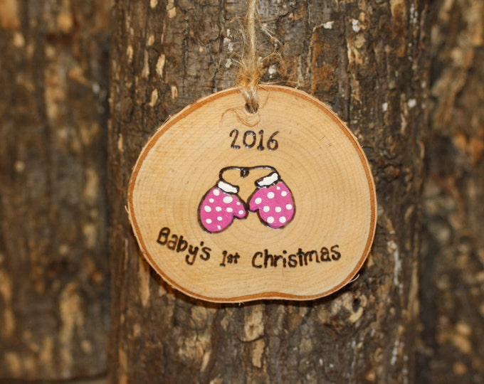 First Christmas Ornament - Baby's First Christmas Rustic Log Slice Ornament- Woodburned and Handpainted