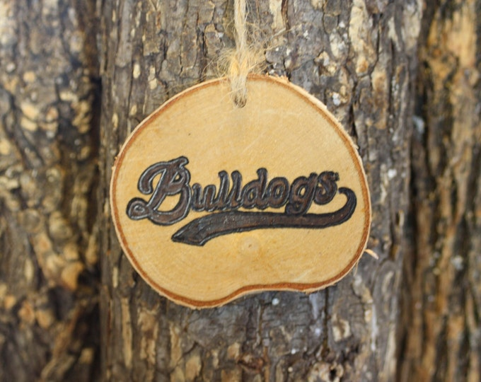 Gonzaga Bulldogs Ornament - Bulldogs Ornament - Hand Wooodburned Log Slice Ornament- Bulldogs