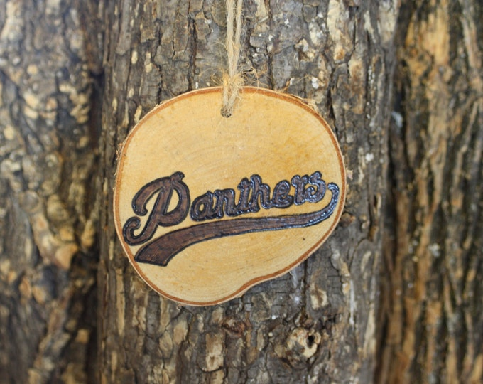 Carolina Panthers Ornament - Panthers Ornament - Handwoodburned Log Slice Ornament- Panthers