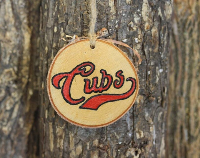 Chicago Cubs - Chicago Cubs Ornament - Handpainted Log Slice Ornament- Pick Your Color- Cubs