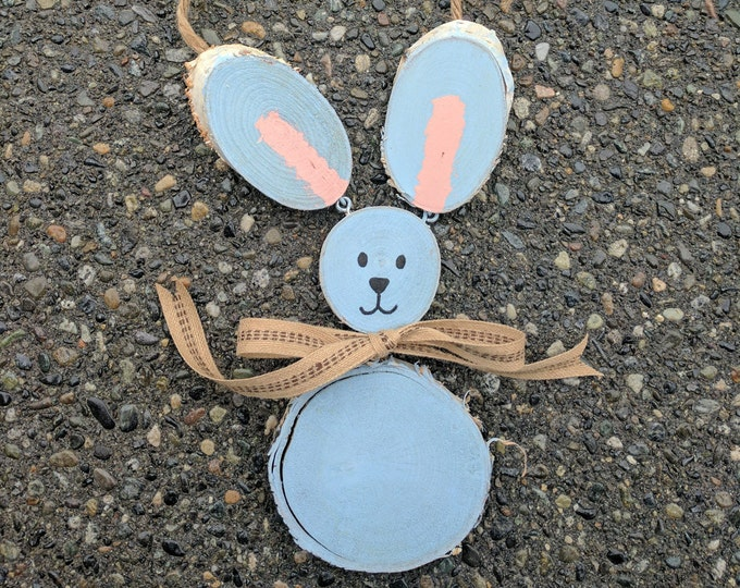 Unique Bunny - FREE SHIPPING! Rustic Handpainted Log Slice Bunny Rabbit- Perfect for Easter or Spring