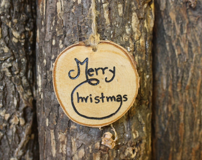 Merry Christmas ornament - Log Slice Ornament - Merry Christmas - hand woodburned