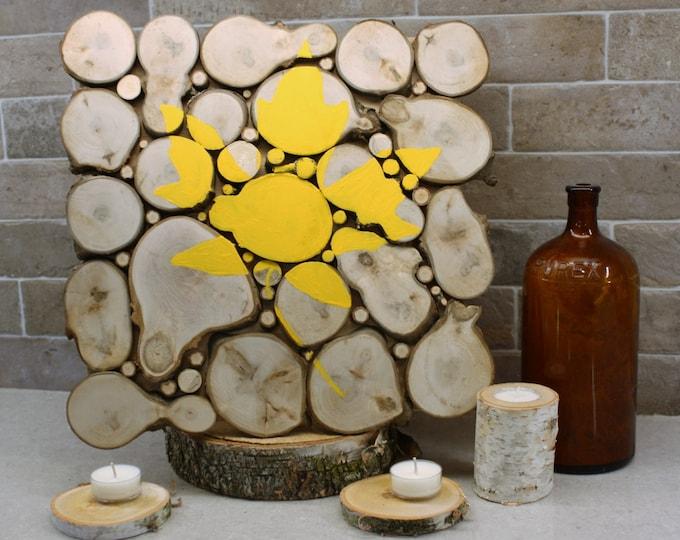 FREE SHIPPING! - Maple Leaf Decor - Handpainted Maple Leaf on Maple Wood Slice Wall Art