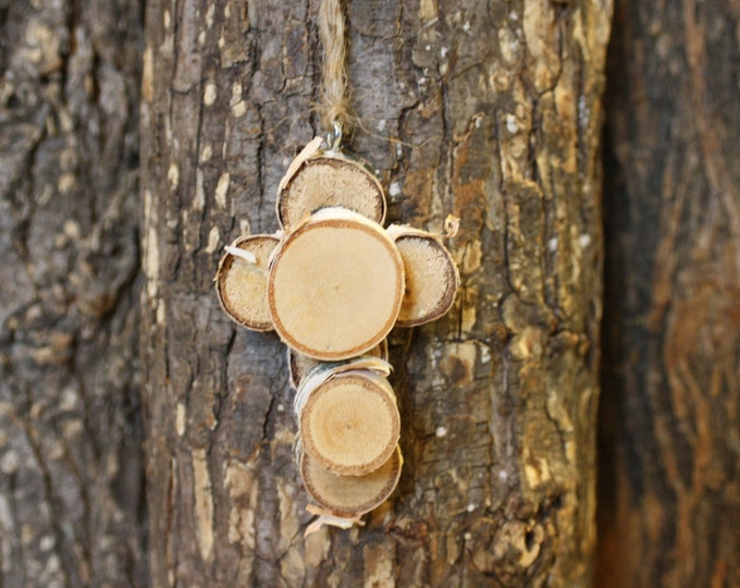 Rustic Cross - Miniature Log Slice Cross Ornament