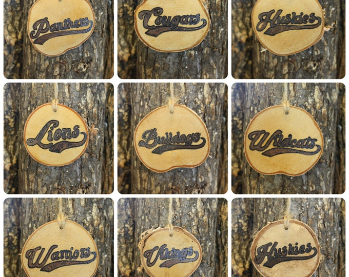 White Sox Ornament - Red Sox Ornament - Hand-Woodburned Log Slice Ornament- Sox