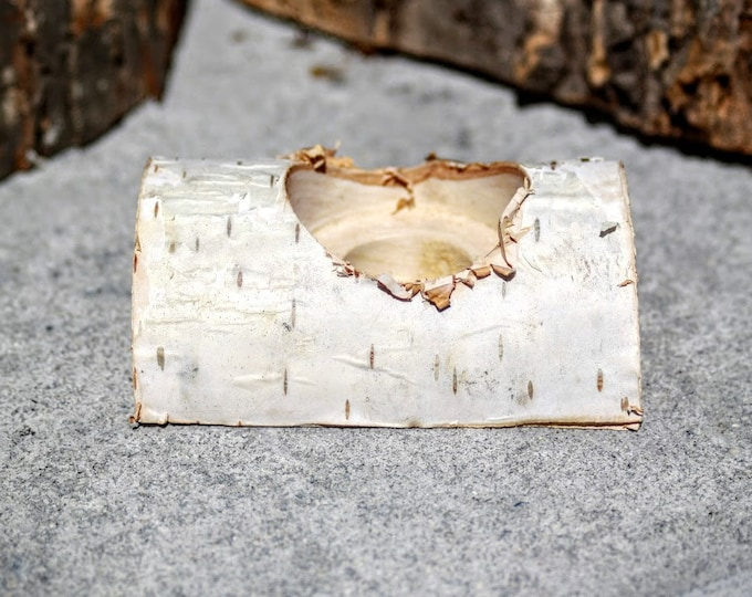 Rustic Candle Holder - Birch Candle Holder - Birch Split Log Candle Holder- Holds Tea Light and Taper Candle