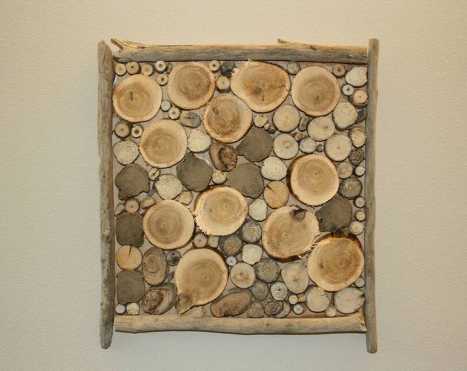 "Nautical decor - drift wood art - 12"" x 12"" Driftwood Log Slice Wall Decor"