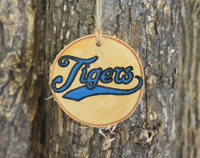 Detroit Tigers - Detroit Tigers ornament - Handpainted Log Slice Ornament- Pick Your Color- Tigers