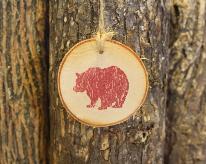 Bear Ornament - Unique Bear Decor - Rustic Bear Log Slice Ornament- Hand Stamped