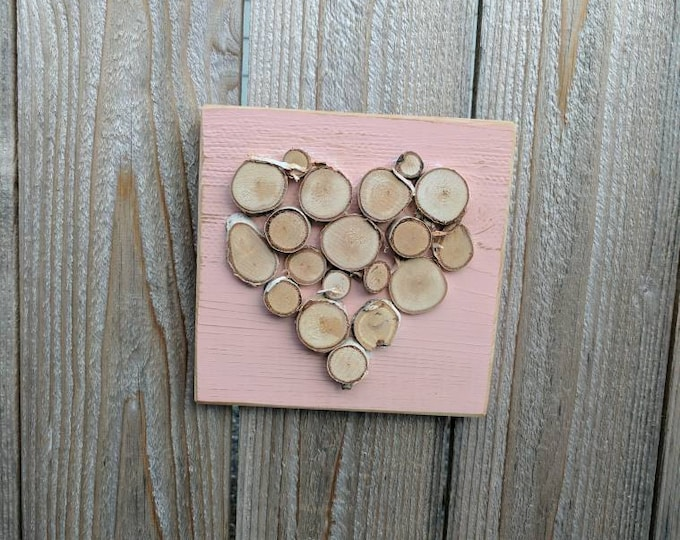 Rustic Heart- Heart Decor - Mini Log Slice Heart on Distressed Pink-Painted Cedar Wood