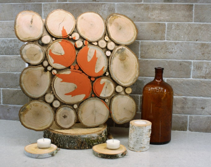 FREE SHIPPING! Painted Oak Leaf on Oak Wood Slices Wall Art
