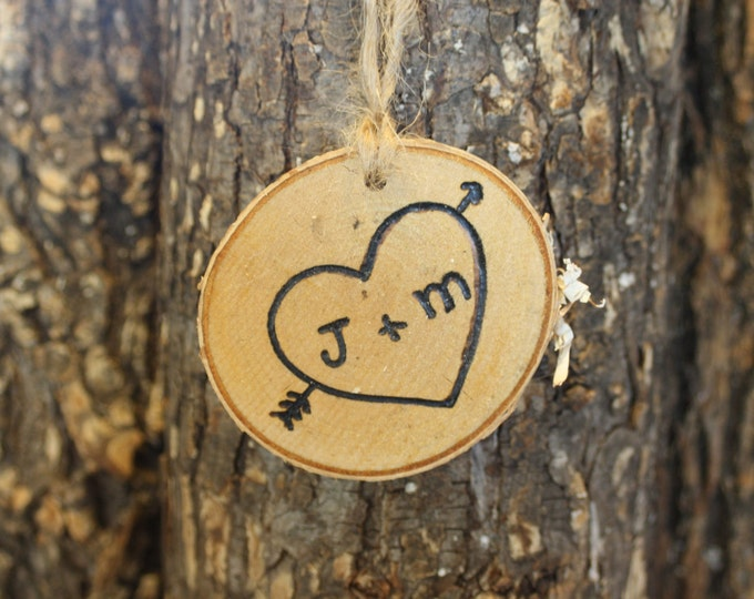 Rustic Wedding Decorations - Heart Initials In Birch Log Slice Ornament- Set of 10