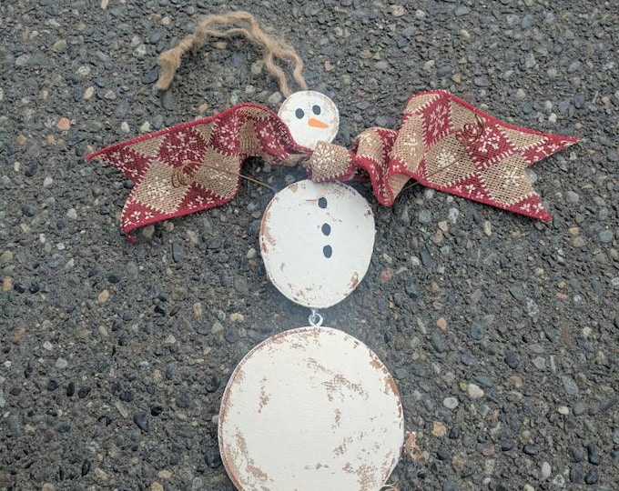 Unique Snowman - Snowman Ornament - Three piece Handpainted Hanging Snowman With Real Barbed Wire Hands and Adorable Ribbon