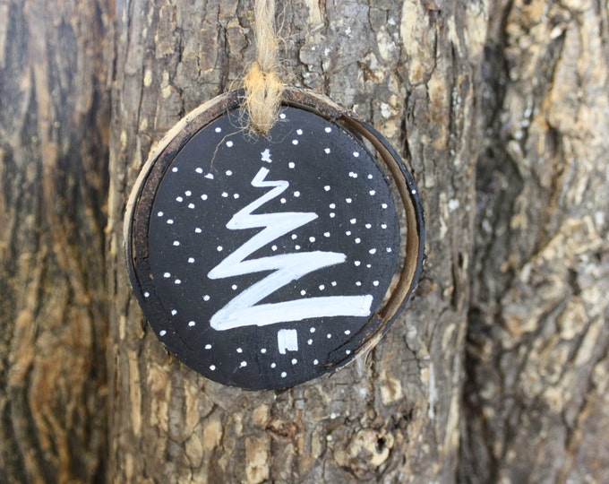 Rustic Christmas Ornament-  Tree Chalkboard Paint Ornament