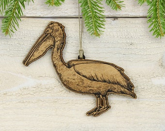 Pelican Christmas OrnamentKeychain-Pewter